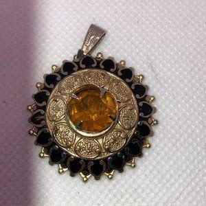 Vintage Gold & Black Medallion Topaz Crystal